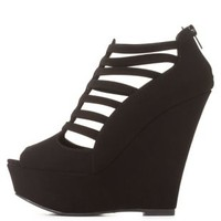 Qupid Strappy Caged Peep Toe Wedges by Charlotte Russe - Black