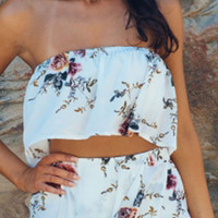 White Floral Print Ruffle Bandeau Crop Top Co-ord