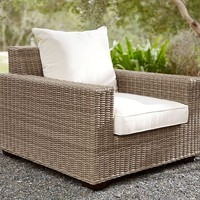Torrey All-Weather Wicker Square Arm Occasional Chair - Natural