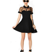 Black Short Sleeve Collared Sheer Mini Dress