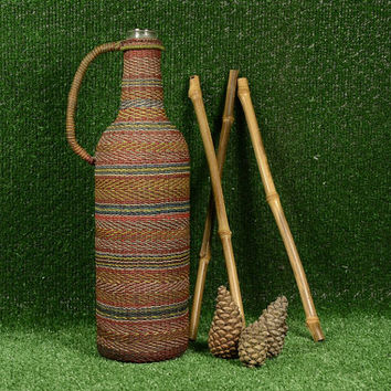 Vintage Braided Wine Bottle, Small Demijohn, Handmade Bottle of Colored Plastic Fringe, Carafe Wine, Home Deckor, Rustic Bottle, Souvenirs