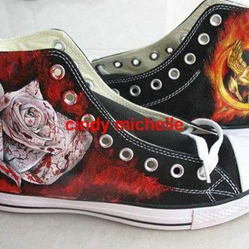 Custom Converse Hunger Games Hand Painted On Converse Shoes Great Gift - Beauty Ticks