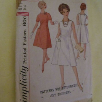Sale Jackie O style 1960's Simplicity Printed Pattern, 4467! Aline Style, Size 16, 36 Bust, Women's, Dresses, Evening Wear, Summer or Spring