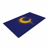 "BarmalisiRTB ""Melting Moon2"" Yellow Digital Woven Area Rug"