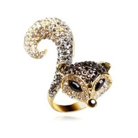 Diamante Fox Ring by Hallomall