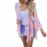 Women's Pretty in Pink Vintage Floral Paisley Print Chiffon Kimono Cardigan Beach Cover Up