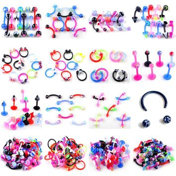 5Pcs/Lot UV Flexible Lip Tongue Eyebrow Navel Ball Belly Button Rings Nose Nostril Ear Plug Tragus Body Piercing Jewelry