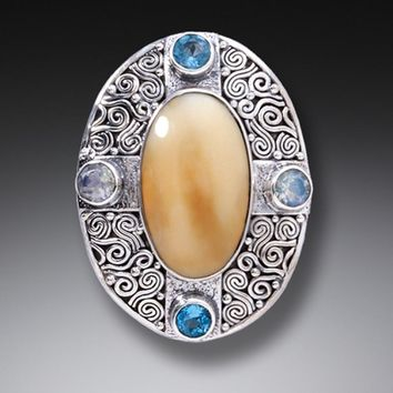 """""""Auric Dance"""" Ancient Fossilized Walrus Tusk Ivory, Moonstone, Blue Topaz Sterling Silver Pin or Pendant"""