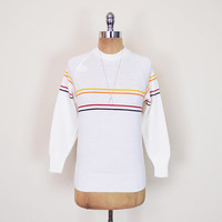 Vintage 70s 80s White Toyota Racing Stripe Sweater Rainbow Stripe Jumper Top 70s Sweater Hippie Sweater Retro Sweater Hipster Women S Small