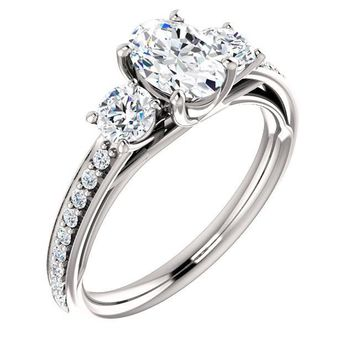 0.75 Ct Oval 3 Stone Diamond Engagement Ring 14k White Gold