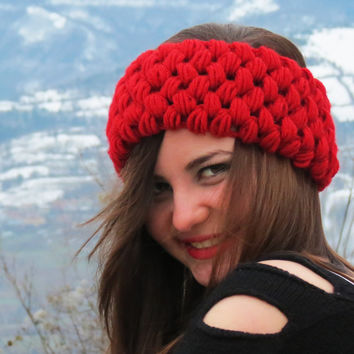 Crochet Cozy Headband, Red Ear Warmer, Chunky Slip on Headband for Women, Perfect Stocking Stuffers, Wide Knitted Headband, Exclusive, RED