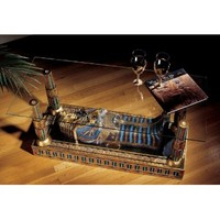 Classic Ancient Egyptian Collectible Royal Sarcophagus Glass-Topped Table