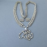 1960's Vintage Woven Silver Tone Bead Earrings & Long Tassel Necklace Set