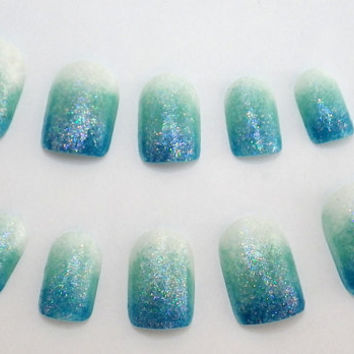 Ombre Nail Art Blue by NailKandy on Etsy