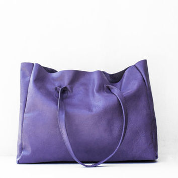 Indigo Leather Shopper / Leather Tote / Shoulder Bag / Blue Leather Bag / Leather Bag / Women's Handbag / Raw Edged Shopper / Purple Bag