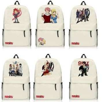 Anime Fairy Tail Natsu Backpack Cartoon Bags Oxford Student School Bag Unisex