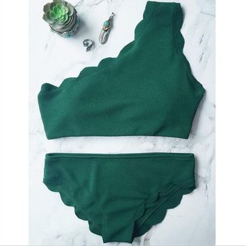 Sexy hot sale beach swimsuit pure color one-shoulder scalloped two piece bikini green