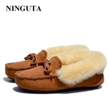 NINGUTA quality fur suede loafers shoes woman winter casual women shoes