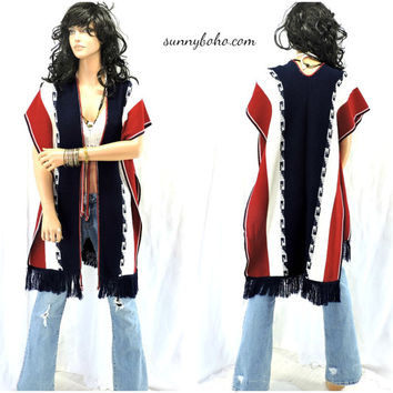 Boho Hippie long fringed poncho / vest vintage 70s Mexican blanket sweater 1970s long fringe sweater vest S M L XL SunnyBohoVintage
