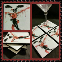 Harley Quinn painting Joker's face ceramic drink coaster, wall art or decorative plate handcrafted DC comic