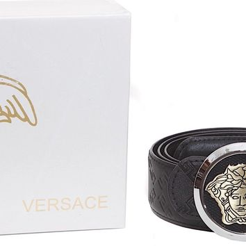 "GIANNI VERSACE Rounded Medusa Buckle Black Leather Greek Key Belt Sz 36""-40"" NIB"