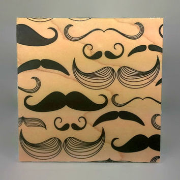 Gift for Him Mustache Print - hipster art, mustache wood print, wood anniversary, mustache print on wood, mustache wall art, mustache decor