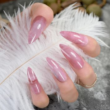 Rose Quartz Marble Stiletto Nail Kit - Extra Long