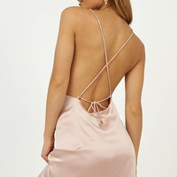 Mean So Much Dress In Blush Satin Produced By SHOWPO