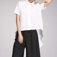 White Cutout Chiffon Blouse With Hi Low Design