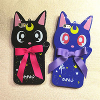 Cute 3D cartoon Bow cat Sailor Moon soft back case cover for iphone 6 6S 6Splus