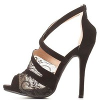 Strappy Crisscrossing Lace Heels by Charlotte Russe