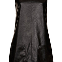 Leather-look Pinafore Dress - Topshop