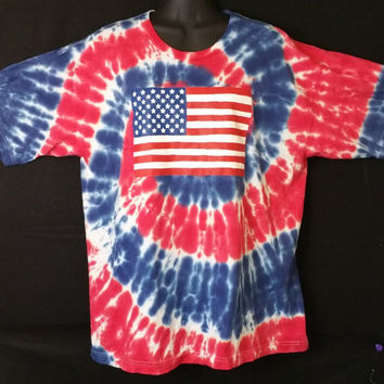 Hand Dyed Multi Color U.S.A Flag Tie Dye Shirt | Made in the U.S.A Shirt | Adult (SHORT SLEEVE)