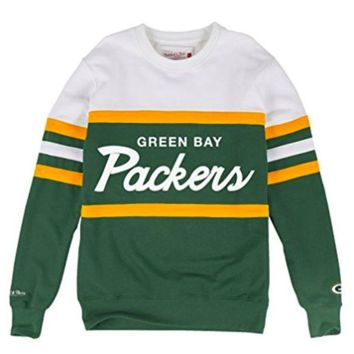 ONETOW Green Bay Packers Mitchell & Ness NFL Head Coach Premium Crew Sweatshirt