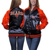 Chicago Bears Ladies Team Spirit Satin Jacket - Navy Blue/Orange