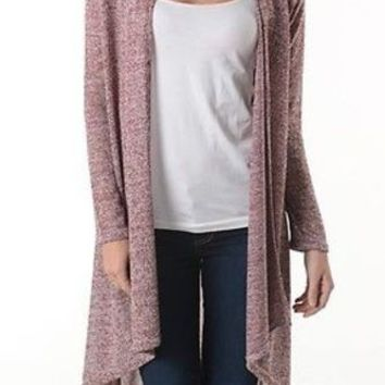 Casual Asymmetric Hi-Low Hem Open Front Slim Lightweight Cardigan