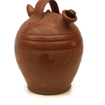 French Terracotta Urn. Vintage Terracotta Pitcher. Terracotta Wine Jug. French Water Pitcher. Stoneware Flagon. Terracotta Flagon.