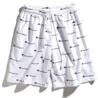 Champion 2018 Summer Printed Trousers Women Shorts Casual Pants F0232-1 white