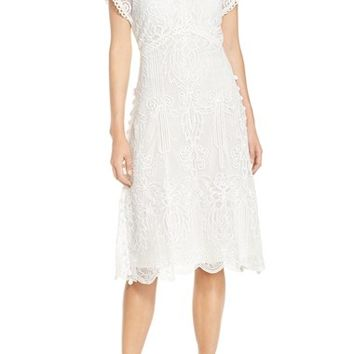 Yoana Baraschi 'Panama' Tea Length Embroidered Lace Dress | Nordstrom