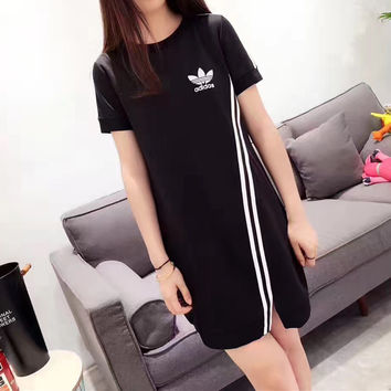 """Adidas"" Fashion Casual Simple Stripe Round Neck Short Sleeve T-shirt Mini Dress"
