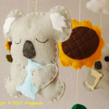 Decorative Nursery Mobile Australian Koala wildlife by hingmade