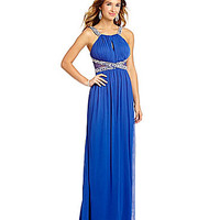 Jodi Kristopher Keyhole-Beaded Neckline Long Dress | Dillards.com