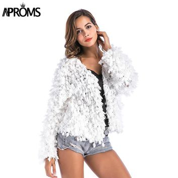 Aproms Warm White Soft Shaggy Jacket Coat Women Sweater Female Overcoat Autumn Winter Hairy Sequined Coat Cardigans