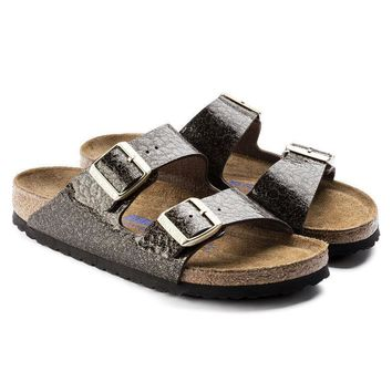 Birkenstock Beach Slippers Arizona Soft Footbed Birko-Flor Myda Espresso Sandals