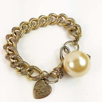 Chunky Chain Bracelet with Pearl Gold Tone Vintage