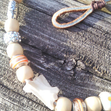 Bone Necklace,Leather Necklace,Shaman Warrior Necklace,Snapping Turtle Bone,Real Animal Bone Necklace,Vertebrae Spine Necklace , LARP