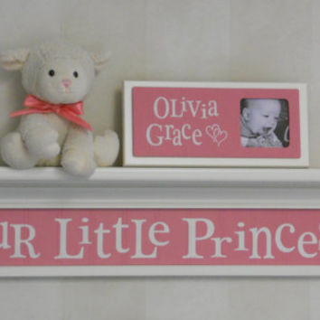 "Pink Baby Girl Nursery Decor Shelves - OUR LITTLE PRINCESS Sign on 30"" Linen White Shelf with Pink Nursery Wall Decorations"