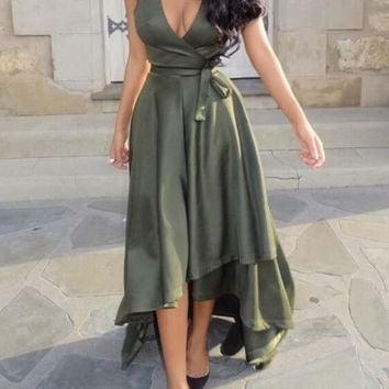 Army Green Plain Sashes Irregular Plunging Neckline Sleeveless Maxi Dress
