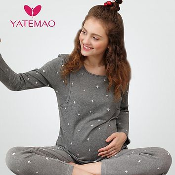 YATEMAO Winter Nursing Pajamas Maternity Clothes Cotton Pregnant Pajama Set Maternity Long Sleeve Tops&Pants Sleepwear Nightgown