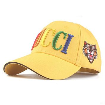 GUCCI Trending Couple Chic Rainbow Letter Embroidery Sports Sun Hat Baseball Cap Hat Yellow